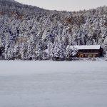 手前の雪面は凍結した白駒池